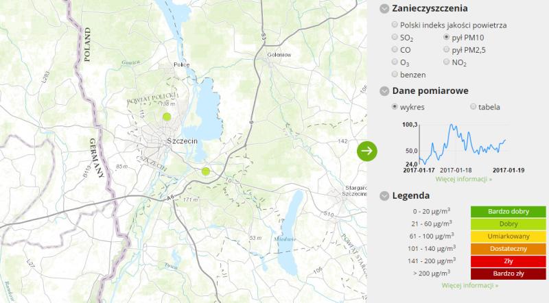 Jakość powietrza w Szczecinie (godz. 14)