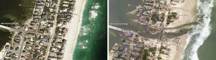 Woda wyrwała kawał lądu, most donikąd. Satelitarne zdjęcia sprzed i po Sandy