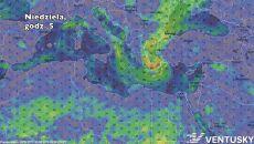 Prognozowane położenie cyklonu w niedzielę o godz. 5