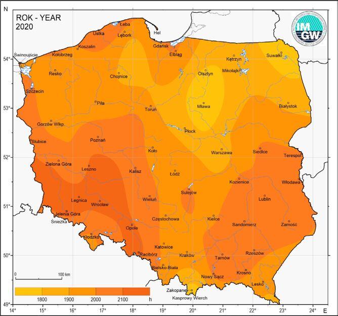 Usłonecznienie w Polsce w 2020 roku (IMGW-PIB)