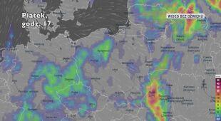 Prognozowane opady deszczu w ciągu kolejnych dni (Ventusky)